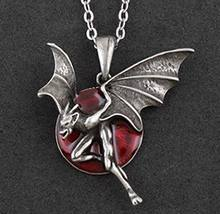 Красный круглый луна ночь вампир Дьявол ожерелье цепочка Высокое