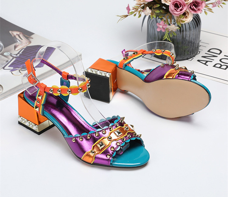 Chic women 39 s rivets sandals 2019 summer chunky heels sandal shoes Fashion high heeled shoes EU35 41 size BY702 in High Heels from Shoes