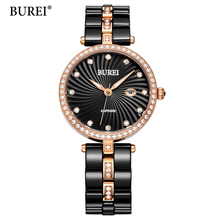 BUREI Ultra Slim Top Brand Woman watches Fashion Ladies Crystal Clock Black Ceramics Gold Luxury Women Rhinestone Diamond Watch