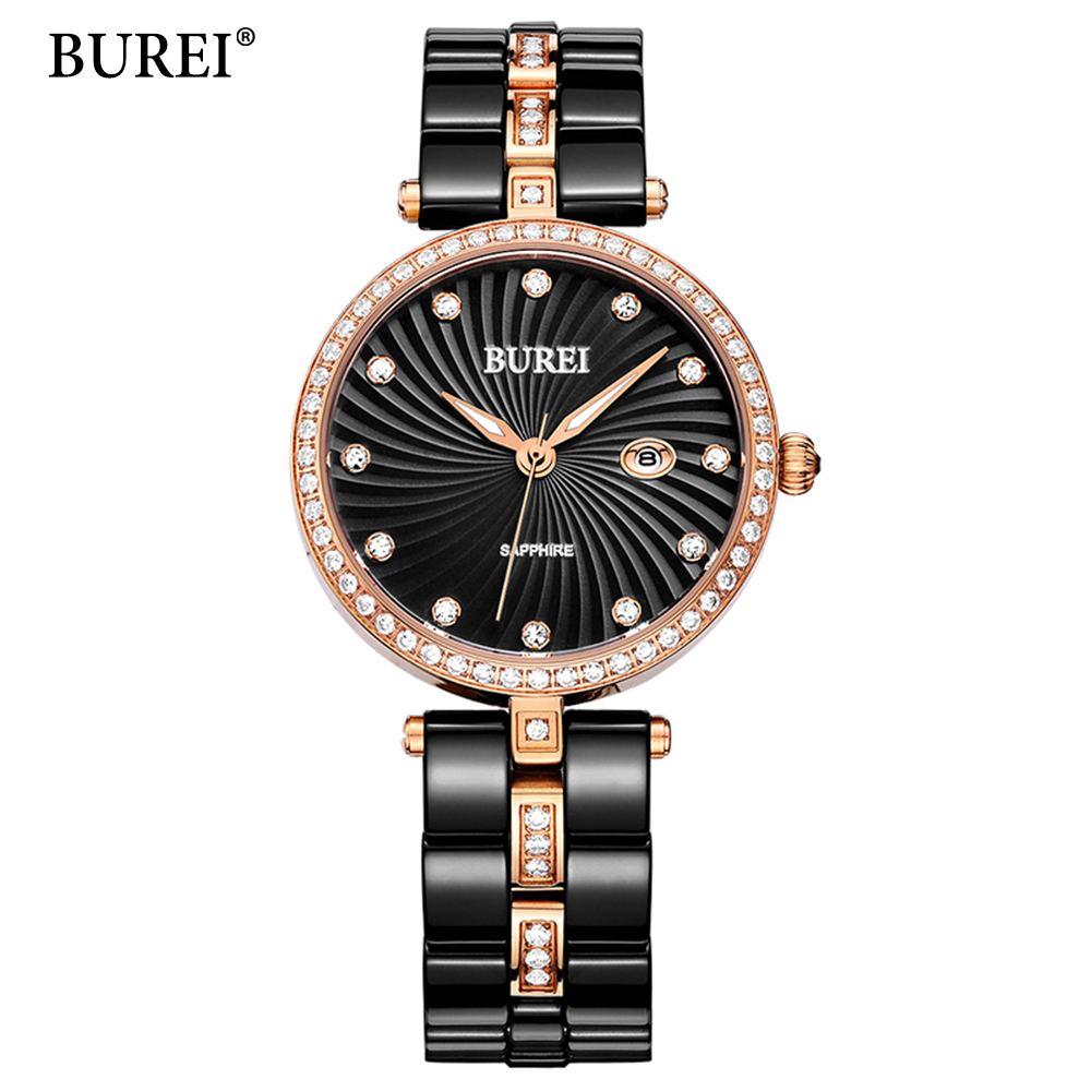 BUREI Ultra Slim Top Brand Woman watches Fashion Ladies Crystal Clock Black Ceramics Gold Luxury Women Rhinestone Diamond Watch onlyou women top brand luxury crystal diamond watches ladies fashion casual clock woman rose gold quartz gift watch wholesale