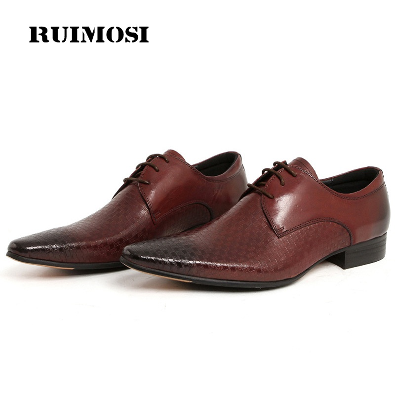RUIMOSI Handmade Man Formal Dress Shoes Genuine Leather Male Pointed Toe Plaid Oxfords Derby Men's Wedding Bridal Flats FD32