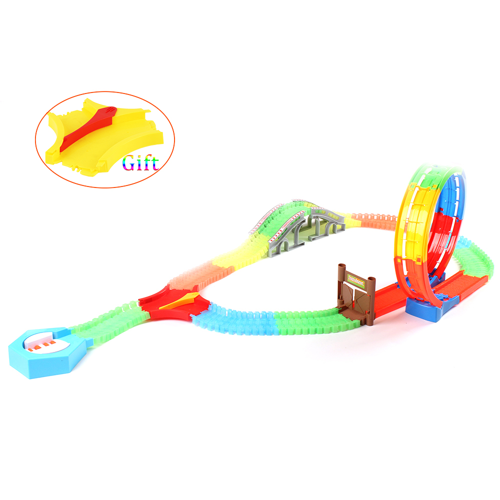 Kids Multilayer Electric Rail Car Assembled Puzzle Roller Coster Train Track Toy Building Blocks Educational Birthday Toys Gift