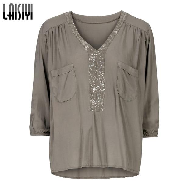 8cb7c66c LAISIYI Women T-Shirt V-Neck Loose Tops Plus Size Shirt Sequin Top Tees  Women T Shirt Women Female Fashion Clothing ASTS20008