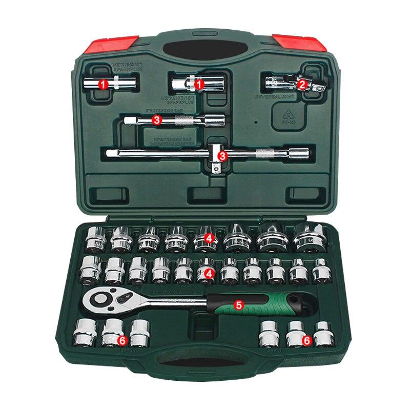 32 pièces/ensemble Outil Combinaison clé dynamométrique De Voiture outil de réparation Ensemble Multifonctionnel À Cliquet clé à douille outil de mécanique Kits