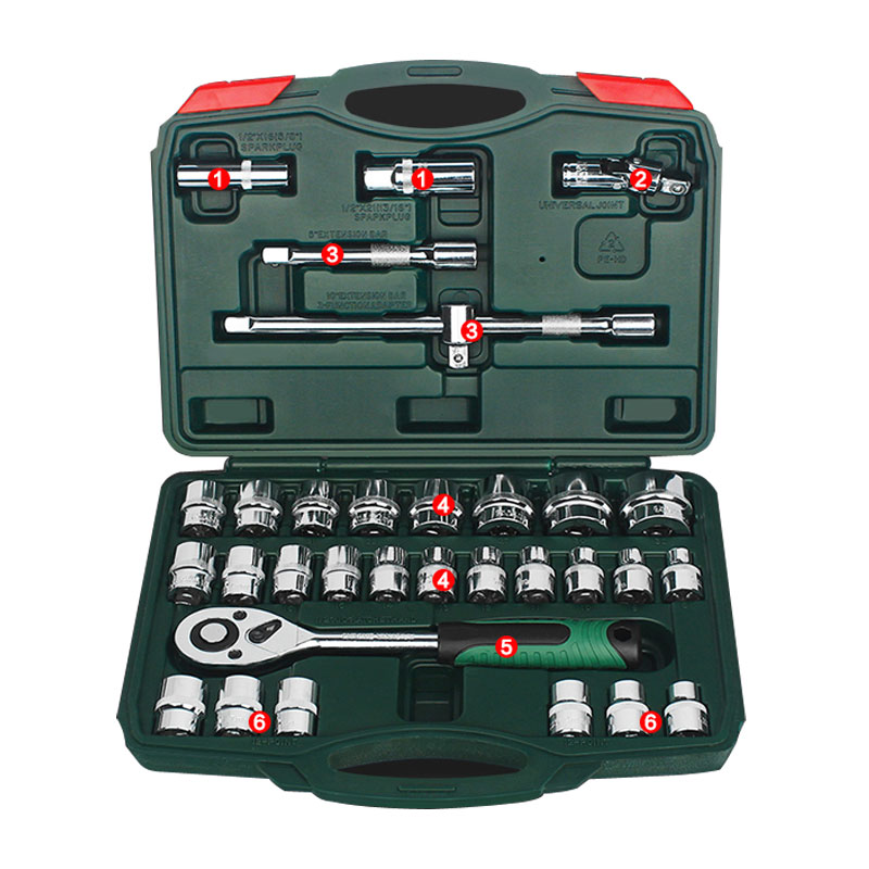 32pcs/set Tool Combination Torque Wrench Car Repair Tool Set Multifunctional Ratchet Socket Spanner Mechanics Tool Kits berrylion 7pcs ratchet wrench spanner combination set 8 19mm open end torque spanner repair tools