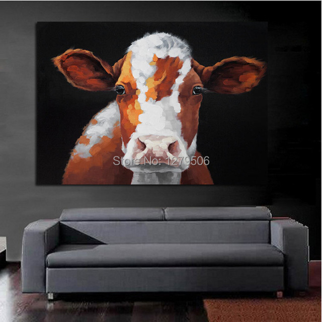 Atfart Living Room Hall Wall Art Handmade Landscape Oil: Handmade Modern Beautiful Cow Abstract Decorative Lovely