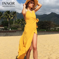 Women Flutter Sleeve Crisscross Back Surplice Wrap Botanical Dress Summer Yellow V Neck Cap Sleeve Maxi Dress INNOR#377