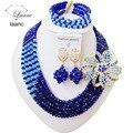 Lindo! Casamento nigeriano Beads Africanos Jóias Definir Azul Royal Azul Turquesa Colares de Cristal Botão Do Parafuso Prisioneiro Brinco NC1931