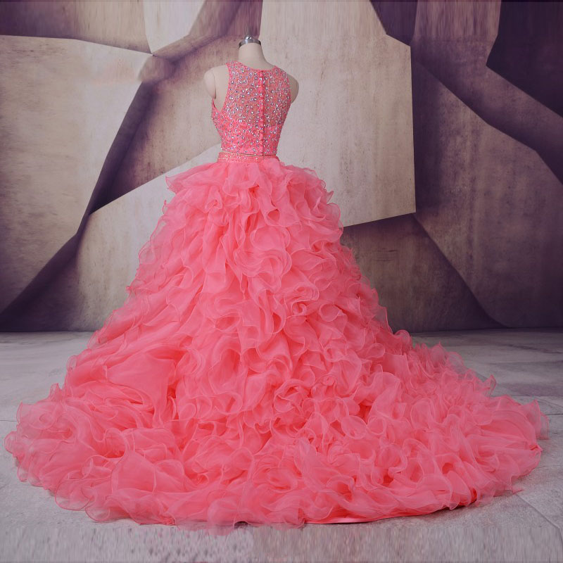 LORIE Real Two Piece Prom dress for Quinceanera vestidos de 15 anos O-Neck Beaded with Stones Ruffles Pink Organza Party Gown