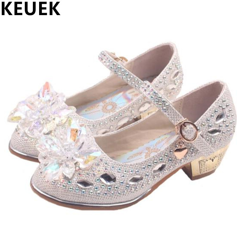 New Spring/Autumn Crystal Shoes Girls High Fashion Rhinestone Princess Dance Shoes Children Baby Casual Leather Shoes Kids 03  wendywu spring autumn children fashion pu leather heeled shoe for baby girsl rhinestone princess dance shoes gold toddler