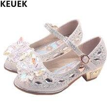 Sapatos de cristal para meninas, sapatos casuais para bebês crianças de primavera/outono 03, com strass, sapatos de princesa