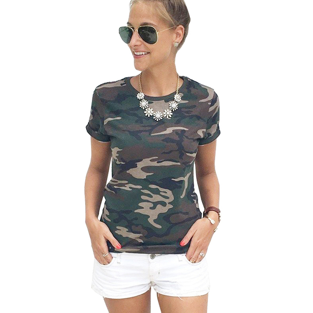 Summer T-shirt female blusa tumblr camouflage prints tops 2017 short sleeves women t shirt military uniform casual top tees