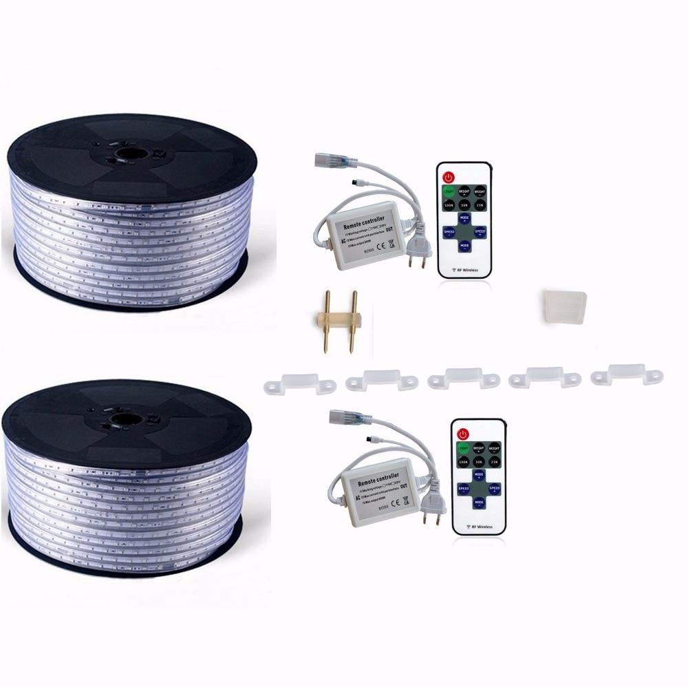 220 V 110 V Светодиодные ленты 5050 50 м 100 IP67 Водонепроницаемый RGB двойной Цвет веревка для наружного освещения с радиочастотным пультом дистанционного управления - 2