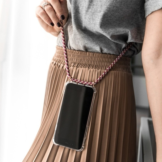 Fashion Cross Shoulder Strap Clear TPU Case For iPhone XS Max XR XS X 7 8 6 6S Plus 5 5S SE Necklace Neck Rope Anti-knock Cover