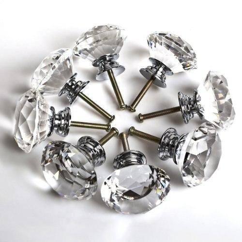 Kitchen Cabinet Glass Knobs: 8PCS 40MM Clear Crystal Glass Diamond Cut Door Knobs