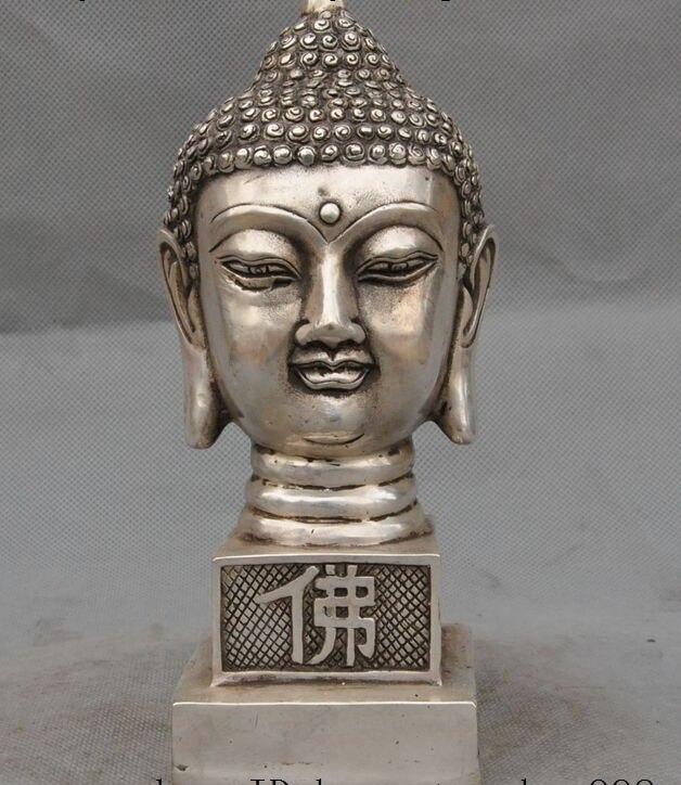 Tibet Buddhism Silver Sakyamuni Shakyamuni Amitabha Dharmapala Buddha Statue