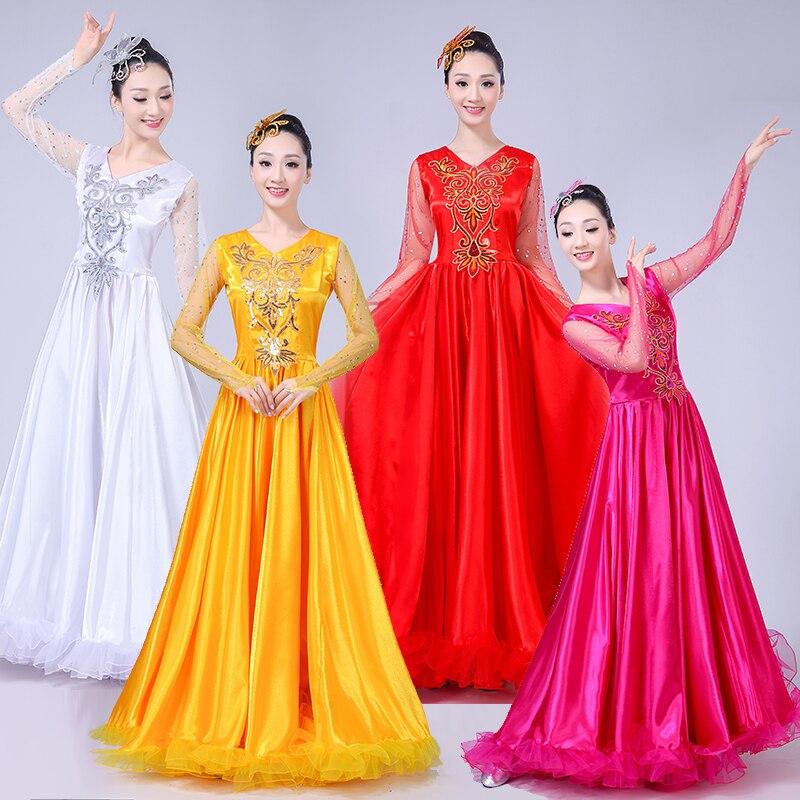 Nouveau vêtement de danse nationale robes de choeur pailletées robe de scène ouverture danse costume spectacle