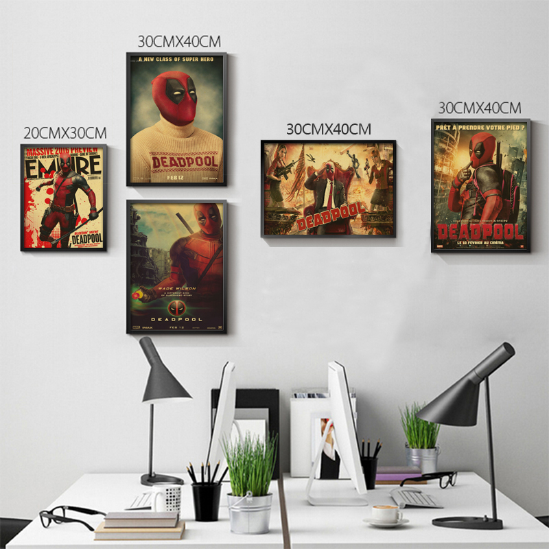 Retro Posters Deadpool Deadpool Marvel superhero Meng cheap decorative sticker Ryan Reynolds Movies Videos paintings