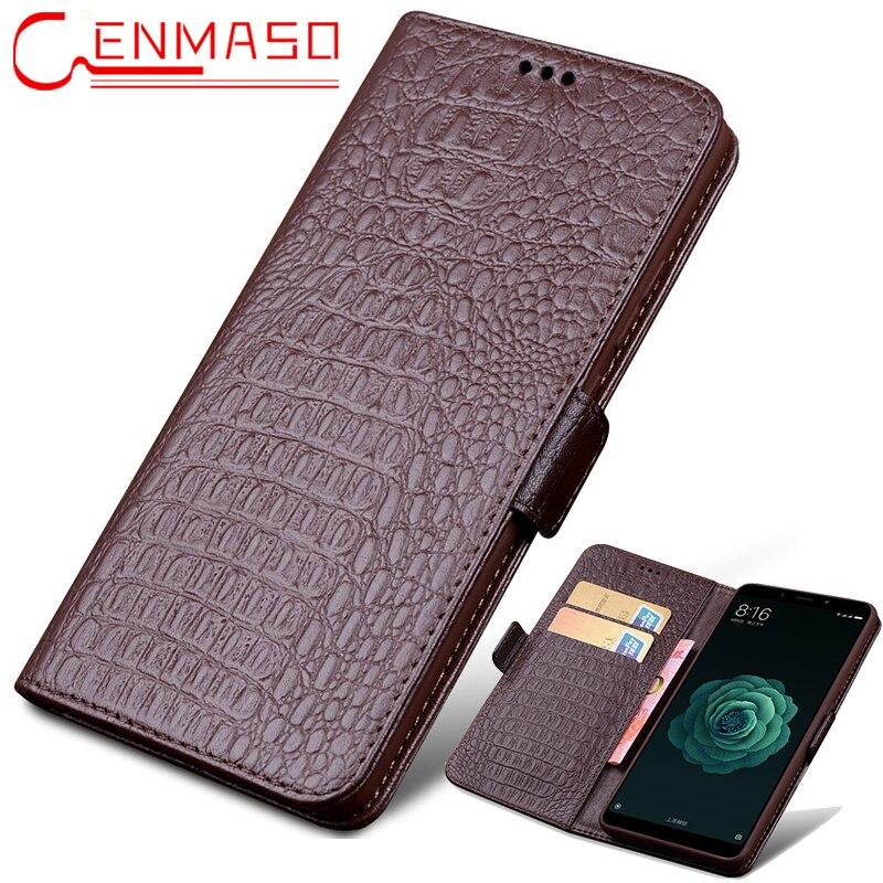 Xiao mi mi Max 3 étui de luxe en cuir véritable flip portefeuille coque de téléphone Xiao mi MAX3 vintage kick-stand antichoc cas
