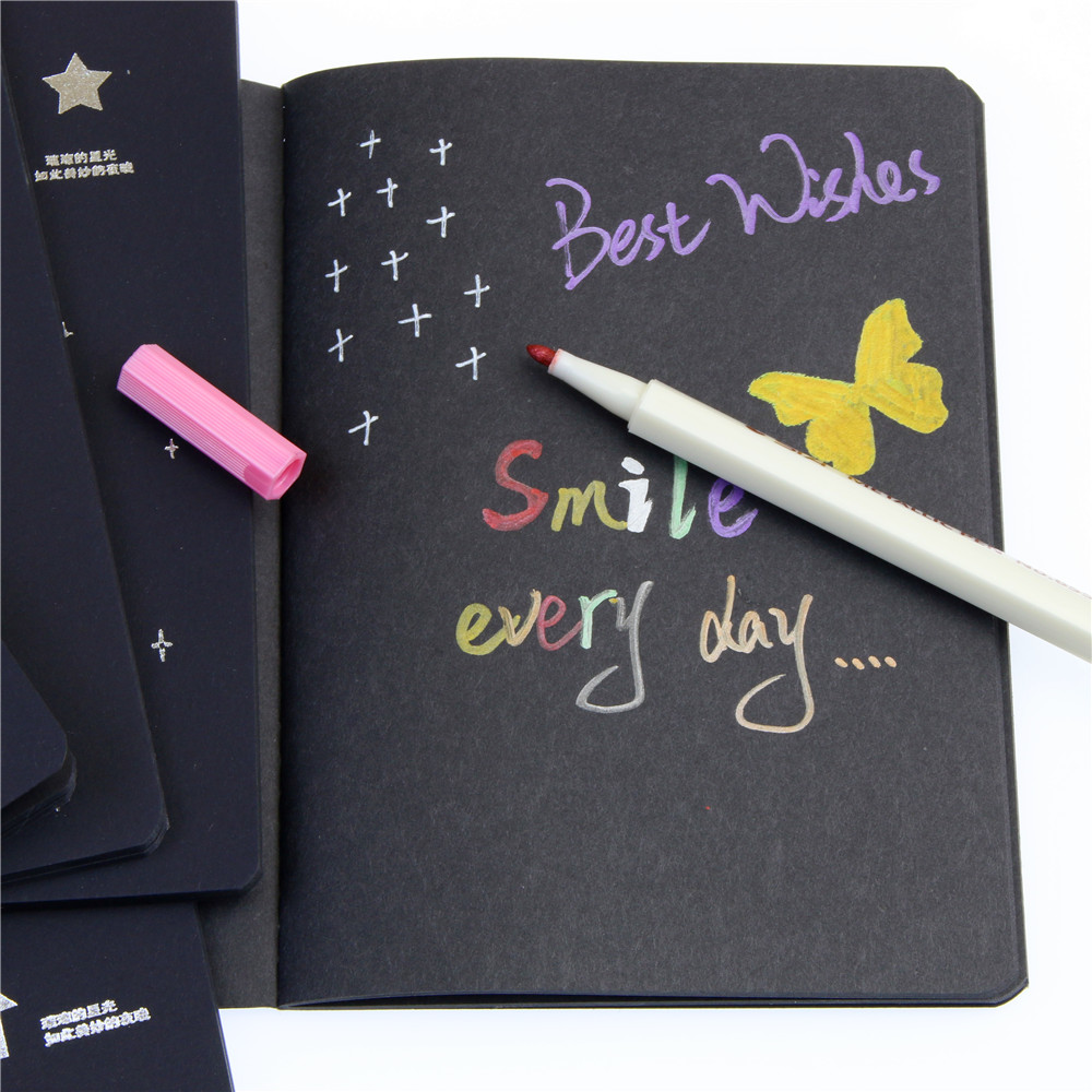 Hot Sketchbook Diary Drawing Painting Graffiti Black Paper 28 Sheets Ketch Book Notebook School Supplies As Gift