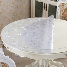 home kitchen waterproof soft glass oil proof crystal floral Dining anti scald round PVC mat table cloth placemat cover