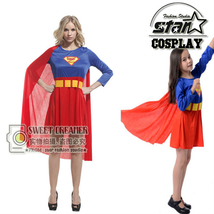 New Arrival 2017 Supergirl Costume Mother Superhero Cosplay Girls Fancy Dress Superman Costume Family Cosplay Gown Clothes-in Matching Family Outfits from ...  sc 1 st  AliExpress.com & New Arrival 2017 Supergirl Costume Mother Superhero Cosplay Girls ...