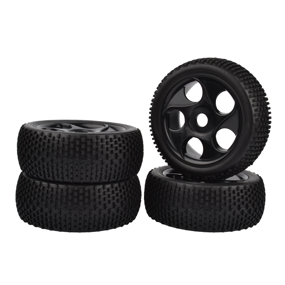 4PCS 1:8 Rubber Tires & Wheel Rims for HSP RC 1:8 Off-Road Buggy Car 4pcs 1 9 rubber tires