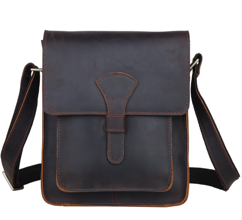 Men Genuine  leather cross body messenger bag dark brown vintage style bag for iPad crazy horse leather small bag 1112