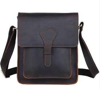 Pria kulit Asli palang tubuh messenger bag dark brown gaya tas untuk iPad kulit kuda gila antik tas kecil 1112