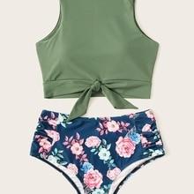 772b05aff45 Floral Print Bikini Sets High Neck Women Swimwear High Waist Lace Up Two  Pieces Swimsuit Girls