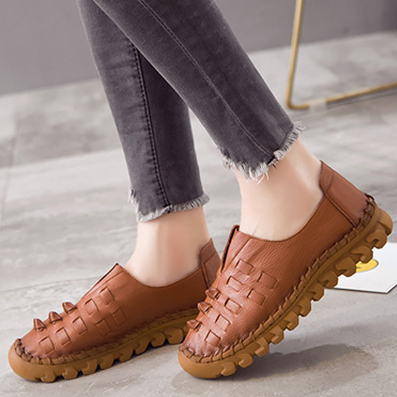 Shoes woman 2018 fashion round toe casual slip-on shoes for women loafers Weave breathable flats genuine leather shoes de la chance women fashion platform shoes genuine leather slip on casual shoes loafers flatform wedge shoes skate ladies shoes