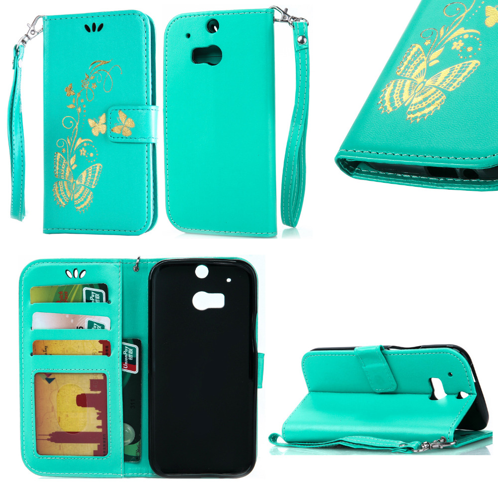 Coque Luxury Bronzing Butterfly Wallet PU Leather Case For HTC Desire 626 816 826 One <font><b>M8</b></font> Flip Card Holder <font><b>Phone</b></font> Bags Cover