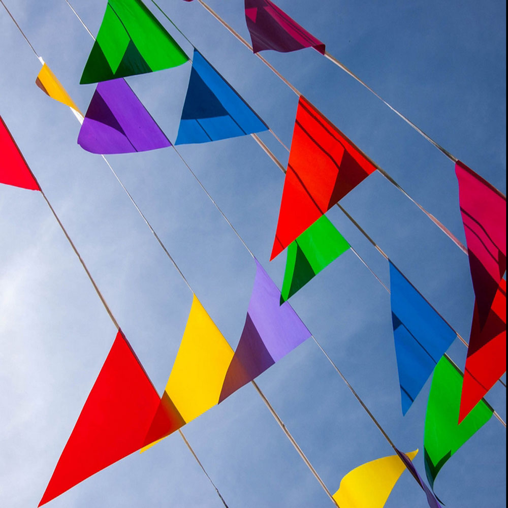 30 M/50 Flags string banner wedding decoration flags birthday married party supplies Blue Red Color Stain Fabric Bunting flags