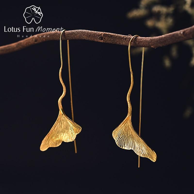 Lotus Fun Moment Real 925 Sterling Silver Long Dangle Earrings Fashion Jewelry Vintage Gold Ginkgo Leaf Drop Earrings for Women vintage leaf water drop earrings