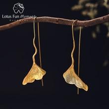 Lotus Fun Moment Real 925 Sterling Silver Long Dangle Earrings Fashion Jewelry Vintage Gold Ginkgo Leaf Drop Earrings for Women