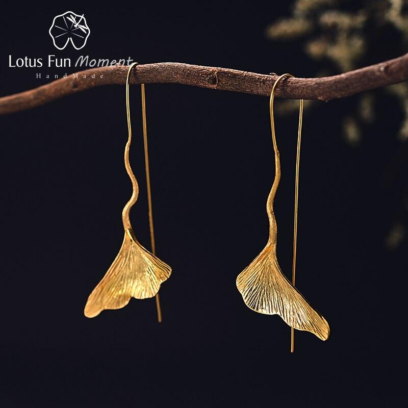Lotus Spaß Moment Echt 925 Sterling Silber Lange Baumeln Ohrringe Modeschmuck Vintage Gold Ginkgo Blatt Tropfen Ohrringe für Frauen