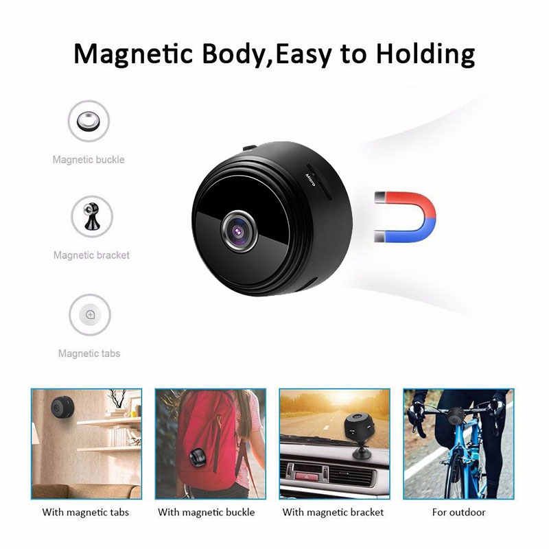 Mini Magnetic Camera A9 WiFi 1080P HD IP P2P Camcorder IR Night Vision Motion Detection Digital Video Audio Recorder Micro Cam