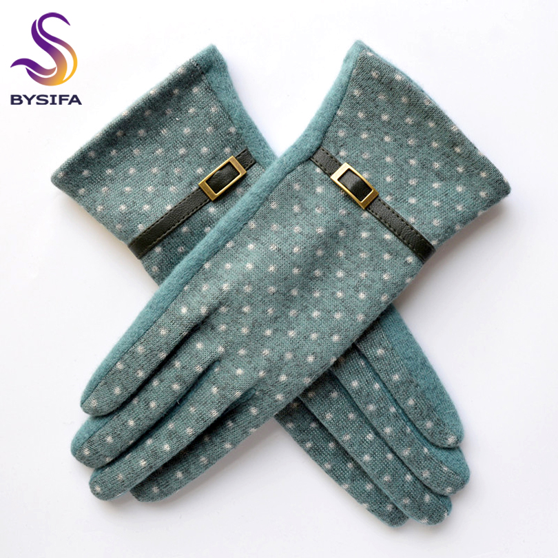 [BYSIFA] Navy Blue Wool Mittens Gloves Trendy Winter Women Thick Cashmere Gloves Fashion Dot Elegant Female Warm Thick Golves