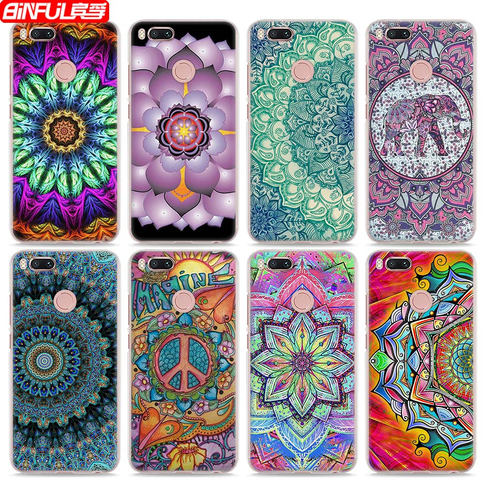 BiNFUL Hot Sale Paisley Mandala Henna Flower style clear hard mobile phone shell Case for Xiaomi Mi 6 5X 5s for Redmi 4x 4A Note