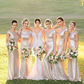2016 Golden Bling Bling Wedding Party Dresses Scoop Short Sleeve Low Back Sequin Lace Mermaid Bridesmaid Dresses