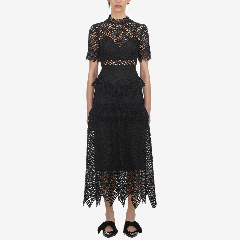 2018 Summer Self Portrait Triangle Lace Dress Women Short Sleeve Stand Collar Hollow Out See Through
