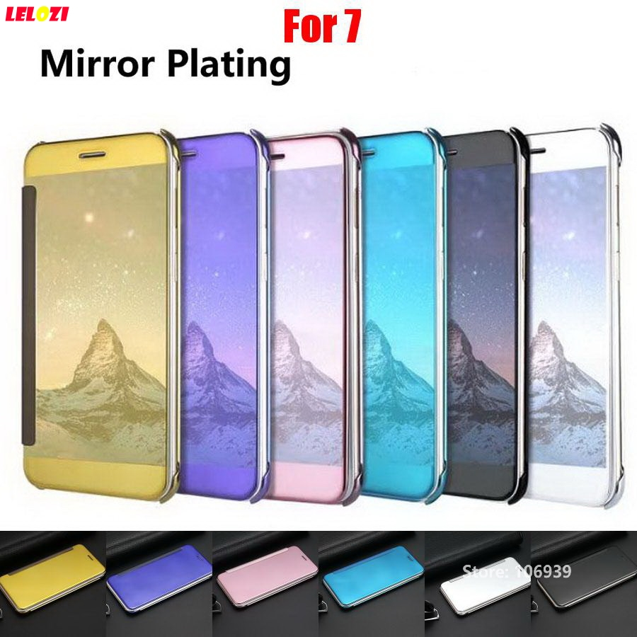 LELOZI Cheap Plating Clear View Hard PC Flip Mirror Phone Cell Mobil Fundas Etui Case kryty cubierta caso For iPhone 7 4.7 Black