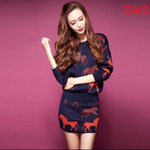 Large size Women 2016Korea Autumn Winter Latest Fashion Knitted Suits Elegant Printing Slim Long sleeved Sweater
