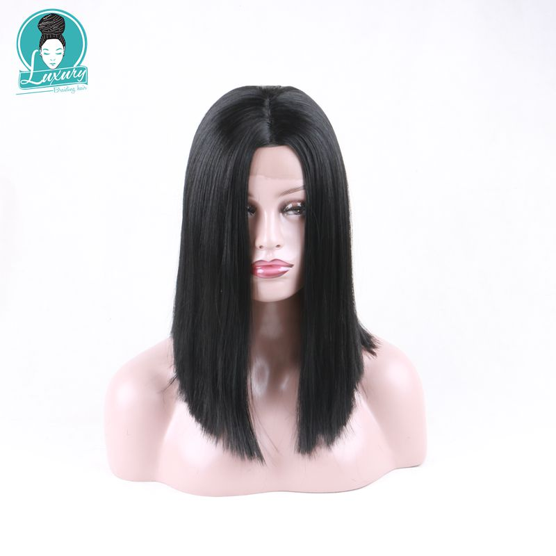 Luxury For Braiding Natural Black Silky Straight Kanekalon Future Heat Resistant Fiber Hair Synthetic Lace Front Wig Average Cap