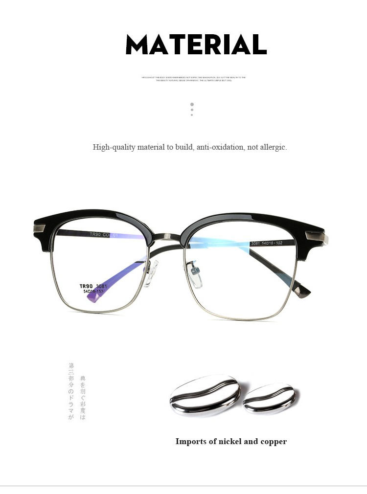 Apparel Accessories Practical Shauna Carbon Fiber Decoration Tr90 Eyeglasses Prescription Frame Men Resin Lens Ultralight Square Optical Glasses Myopia Men's Glasses