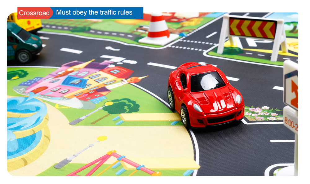 HTB1QQiSawmH3KVjSZKzq6z2OXXaX 130*100cm Children's Traffic Car Play Pad Parking scene big map kids play maps Parent child toys boy girl kids toy game mat map