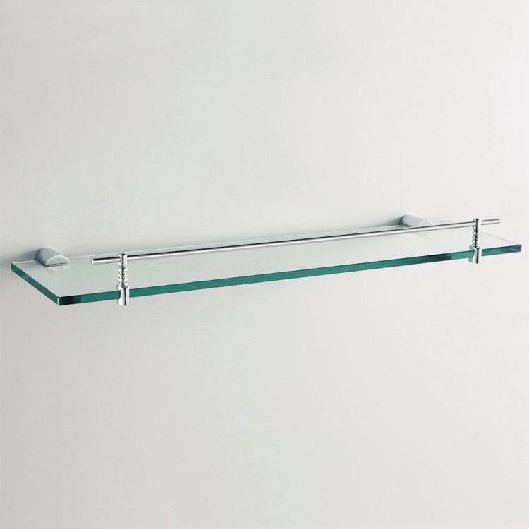 Glass Shelf Wall Mounted Chrome Single Tier Glass Bathroom Shelves ...