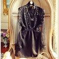 Alta Calidad 2016 Nueva Pista de Otoño Vestido de Las Mujeres de Cuello Redondo de Encaje Atractiva Ahueca Hacia Fuera A Través de Elegantes Vestidos de Fiesta Negro