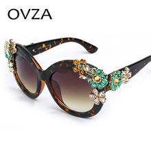 Ovza Luxury Sunglasses Women Inlaid Rhinestone Retro Sun glasses Female Brand Designer High quality Fashion Flower Glasses Ms