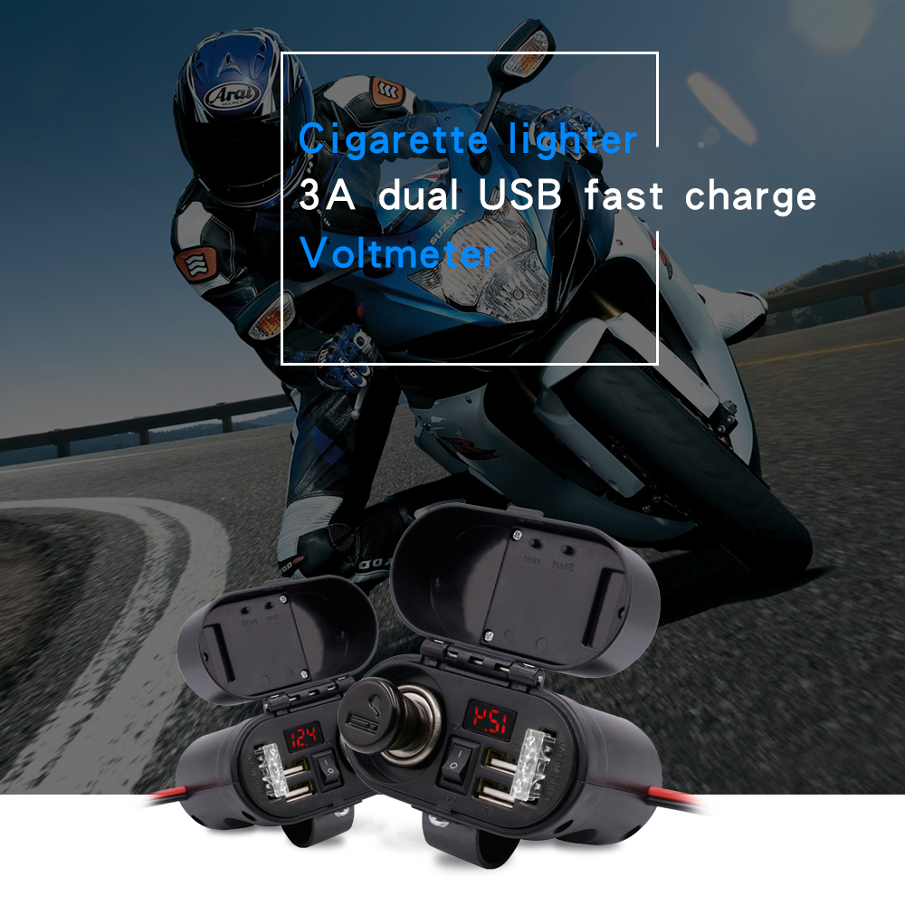 WUPP Moto Motorcycle Cigarette Lighter Socket Waterproof Voltmeter Dual USB Quick Charger Motorbike Electronic Accessory ClockWUPP Moto Motorcycle Cigarette Lighter Socket Waterproof Voltmeter Dual USB Quick Charger Motorbike Electronic Accessory Clock